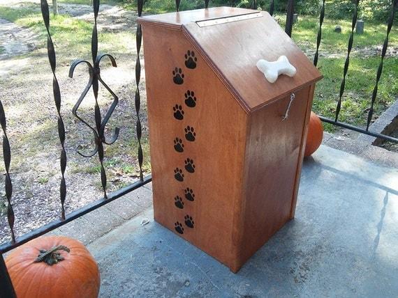 items similar to custom wooden pet food storage bin. Black Bedroom Furniture Sets. Home Design Ideas