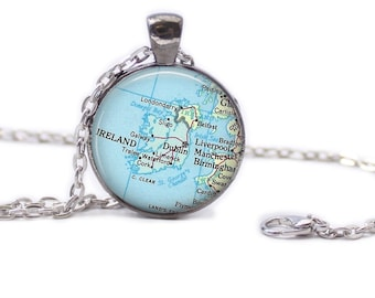 Ireland Map Pendant Map Necklace Map Jewelry