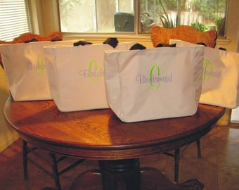 11 Personalized Tote Bag   ***** Personalized Embroidered weddings bridesmaids gifts monogram shower