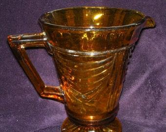 Vintage Amber Glass Jug/Pitcher.