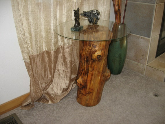 Items Similar To Rustic Aspen Side Table Tree Stump Rustic Wood Rocky Mountians Indoor