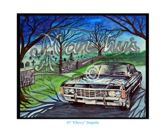 Black 1967 Chevrolet Impala a true American classic,art print by marshy's art a perfect motoring gift for classic car fans,