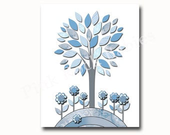 Baby Nursery Decor, Baby Boy Nursery Decor, Kids Room Decor, Kids Wall Art, Tree Nursery wall art, Kids Art, Boy Print blue gray