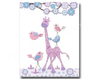 Baby girl wall art for nursery wall art for kids children wall decor kids room decor nursery giraffe art baby girl room decor purple nursery