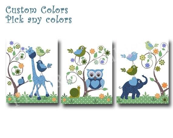 Blue Owl Wall Decor Blue Elephant Nursery Art By Pinkrockbabies