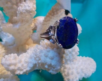 15% OFF Lapis Lazuli 16x12 mm Sterling Silver Ring  Size 6.5
