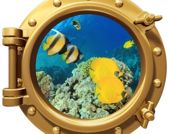 Porthole Wall Fabric Color Decal  Fish Reef 12 In Removable Reusable