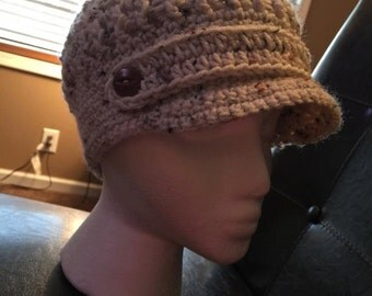 Crocheted Newsboy or girl hat