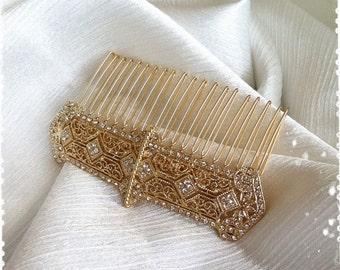 "1920s Art Deco Gatsby Inspired Crystal Gold Veil Comb Wedding Hair Accessory-Vintage Victorian Edwardian Bridal Headpiece-""ALEKSIA gold"