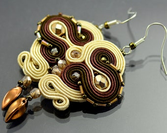 SALE !!! Creamy Brown Medium Soutache Earrings Marsh Ular - will add glamour to any outfit. Ideal for evening styles, handmade
