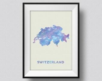 Switzerland Watercolor Map Art Print Switzerland Ink Splash Poster Art Canvas