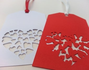 Paper Cut Valentine's Gift Tags, Wedding Present Gift Tags, Anniversary Tags, Red and White Paper Cut Hearts