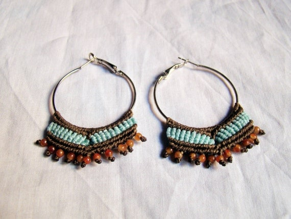 macrame hoops macrame hoop earrings brown and blue woven by caimonkeycrafts 4108