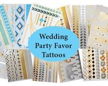 Gold Tattoo Wedding Favors, Unique Metallic Tattoos, 100 Metallic Temporary Tatoos, Jewelry Tattoos, Unique Gifts, Unique Favors