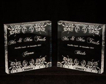 Laser Engraved Acrylic Block Place Cards