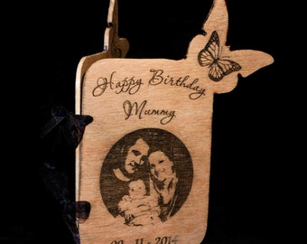 Laser Engraved Wood Greeting Card