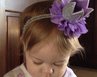 Lavender and silver birthday crown headband, lavender silver first birthday crown, first birthday crown, lavender birthday headband