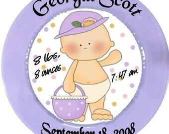 Personalized Pottery Plate ceramic baby newborn gift girl boy