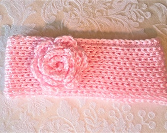 Child's Soft Crochet Earwarmer Headband pink hand crocheted ski wear girls accessories winter acrylic ballet accessories