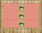 Farm Party - Tractor PRINTABLE Water Bottle Labels by Print Cut Celebrate