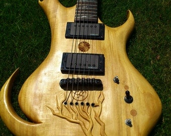 Custom carved guitar Esp ltd fb-200 Baritone guitar emg-hz pickups, custom carving inlay and painting