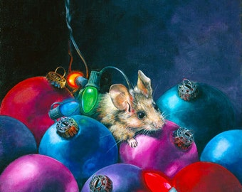 Christmas Card, Mouse, Holiday Card, Greeted Christmas Card, Mouse, Not a Creature was Stirring...,
