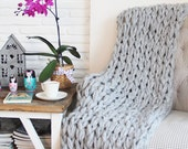 Chunky Knit Blanket, Chunky Knit Throw - Light Gray, Hand Knit (43x60 inches)