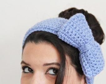 Knitted Headband, Crochet Headband, Ear warmer with a giant bow, Chunky Headband, Hair Accessory - available in all colors