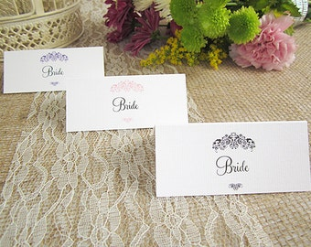 10 x Vintage Wedding Place Name Cards / rustic / table place cards / guest seating cards/ shabby chic wedding