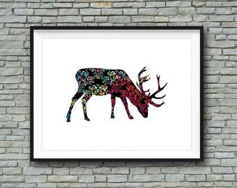 INSTANT DOWNLOAD - Deer Colorful Vivid Design Decor Art - Digital Download Printable