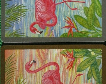 Two Vintage 1960's Swap Cards Featuring Pink Flamingos Mint Condition
