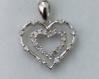 Really Pretty Double Heart with Diamonds Pendant