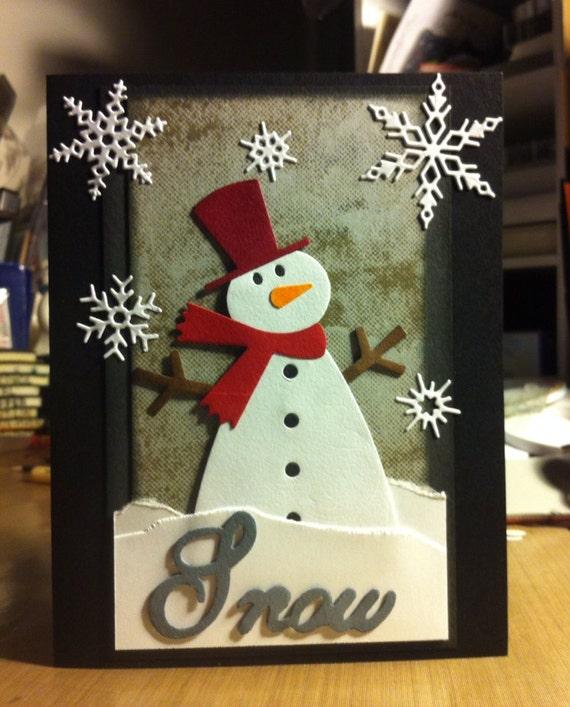 Handmade christmas card snowman for Handmade snowman christmas cards