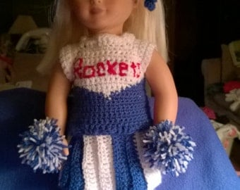 Crochet American doll or 18' doll cheer outfit.