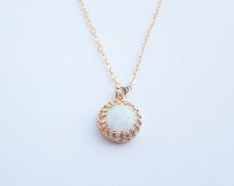 Gold Opal necklace, gold filled necklace, white opal necklace, opal jewelry, opal pendant necklace ,jewelry ,Gift for her