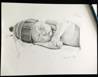 Custom Hand-Drawn Baby or Toddler Portrait Illustration Drawing