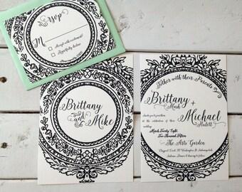Vintage Glamour Black and Cream Wedding Invitation by Artist Brittany Mash