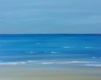 Lulworth - Limited Edition Print from abstract seascape pastel original
