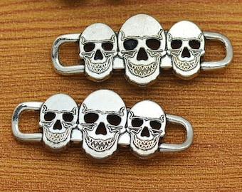 10 Skull Connector Charms Antique Silver Tone Pendants 16x39mm