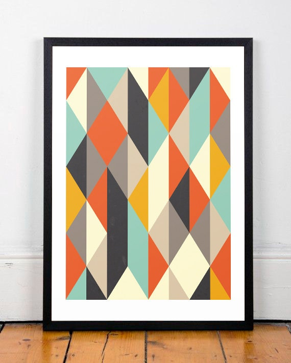 Scandinavian art print mid century modern geometric print for Abstract posters for sale