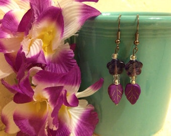 Tiki: Purple Flower and Leaf Earrings