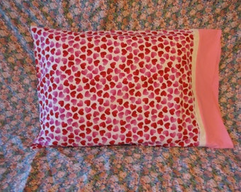 Standard Pillowcase Hearts in Pink and Red