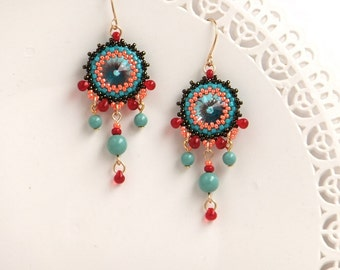 Turquoise earrings, Turquoise chandelier earrings, Turquoise dangle earrings, Coral & turquoise earrings, Beaded chandelier earrings,