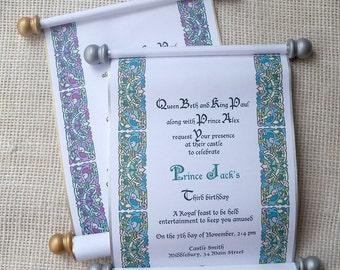 Royal Birthday Party Invitation, Prince or Princess Scroll Invitation, Medieval Castle Invitation