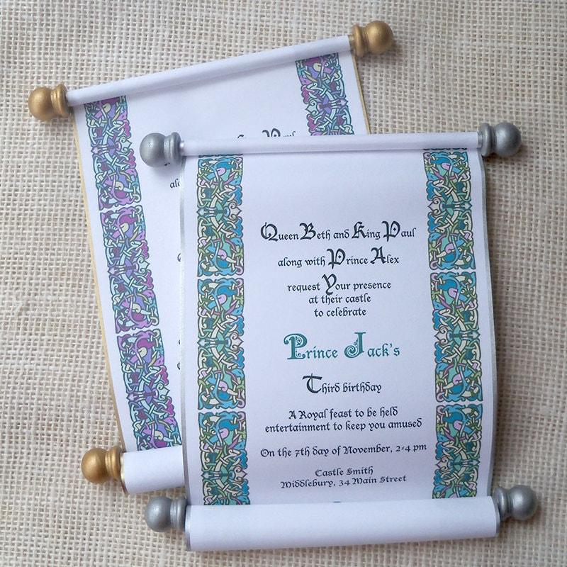 royal birthday invitation scroll for prince or princess