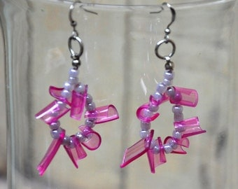 Magenta square earrings, upcycled earrings