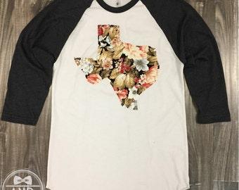 "Handmade Texas Outline Baseball Shirt, T-Shirt,Tee- ""Floral"""