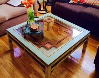 Items similar to refinished white clad ice box end tables for Cream glass coffee table