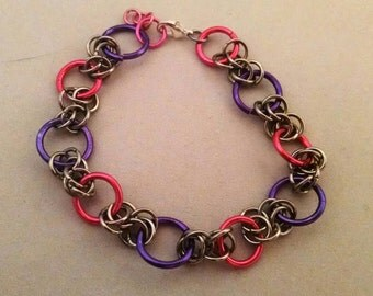 Pink, Purple, and Silver Silver Chainmaille Bracelet