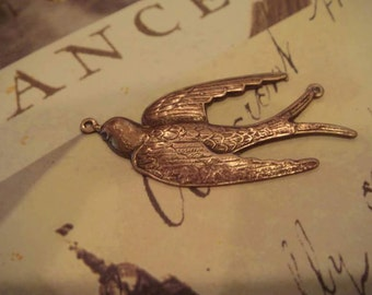 antique brass swallow pendant 1 pc